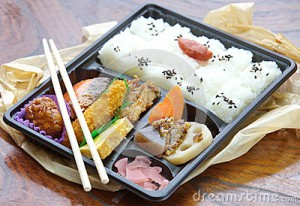 Bento Box with rice and fish